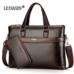 New Men's Bag Tote Briefcase Diagonal Shoulder Computer Bag Men's Business Bag brown average