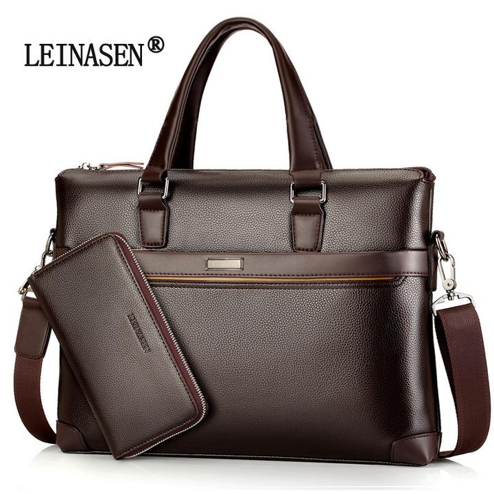 New Men's Bag Tote Briefcase Diagonal Shoulder Computer Bag Men's Business Bag brown average