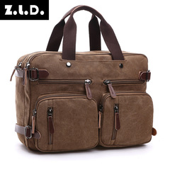 Travel leisure canvas bag business large capacity briefcase portable slung backpack bag brown average