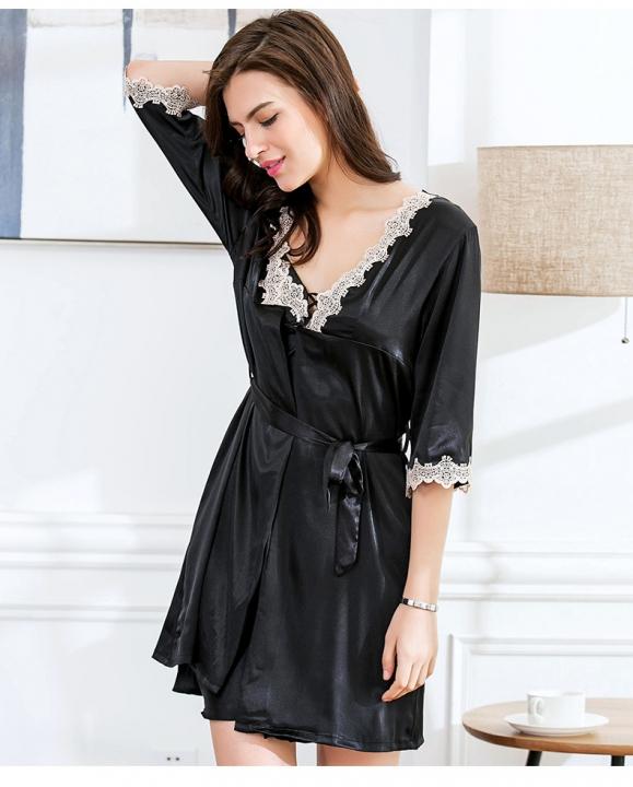 74120a4e56 New Summer Ladies Nightgown Nightdress Two-piece Silk Pajamas Cardigan  Tracksuit black m