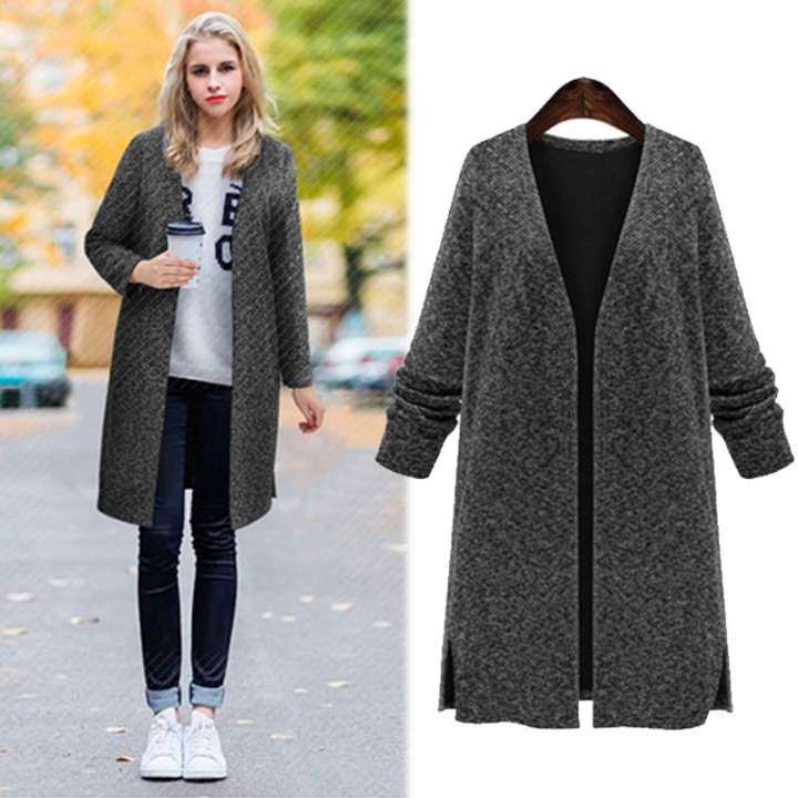 Large size women's clothing in the long paragraph solid color knitted cardigan sweater coat Black xl