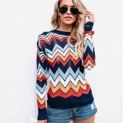 2018 autumn and winter bursting sweater large striped sweater women's dress Tibetan green color m