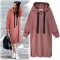 2018 autumn and winter new  hooded long-sleeved sweater women long dress m brick red