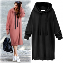 2018 autumn and winter new  hooded long-sleeved sweater women long dress s black