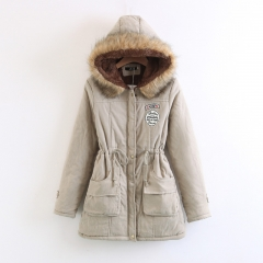 Winter thickening large hooded long hair collar lamb wool drawstring cotton coat khaki s