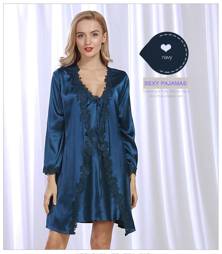 09a5ac3bcb New simulation silk gown Spring ladies cardigan robe suit lace sexy ...