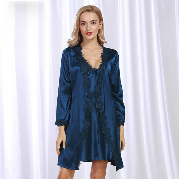 New simulation silk gown Spring ladies cardigan robe suit lace sexy pajamas  navy m 24d5ed007