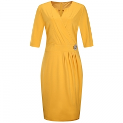 2018 Solid V-neck Pencil Skirt Mid-Sleeve Large Size Women's Dress l yellow