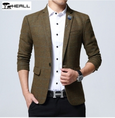 Slim Men Plaid Print Suit XL Small Suit Woolen Jacket Thicken Single West HEALL043 Khaki m