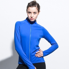 Autumn and winter new fitness coat running collar zipper sports coat ladies yoga wear as the picture shows m
