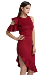 Explosive fly sleeves strapless ruffle dress red wine l