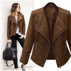 Autumn and winter new long-sleeved leather large size women's sweater sweater coat Slim was thin Brown xl