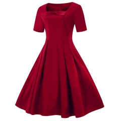Summer ladies new short-sleeved clothes large size big swing skirt l big red