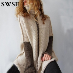 2018 Long and Winter Long Knitted Sweater Turtleneck Sweater Pink s