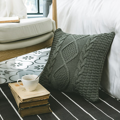 Shaped diamond knit pillow home soft assembly pillowcase Nordic scanning props without core dark gray