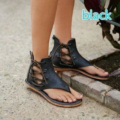 new spring summer women's large size zipper flat sandals comfortable cool fashion brown 40