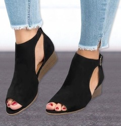SLS YOUTUBE network red with the same paragraph large size wedge shoes women's shoes leather sandals black 40
