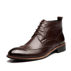 SLS 2019 New PU Leisure Breathable shoe Men Carved short Boots Fashion Martin Boots Retro cusp Boots brown 45
