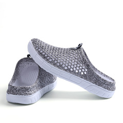 SLS home comfort summer large size women's beach shoes hole shoes non-slip breathable slippers GRAY 40