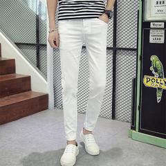 SLS Men Slim Teen Casual Pants Solid Color Mid-Waist Nine-Point Jeans Pencil Pants slim-fit pants white 28