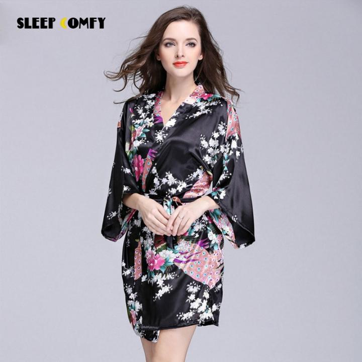 864355b1c2 silk pajamas ladies short-sleeved peacock robe bathrobes home service black  m