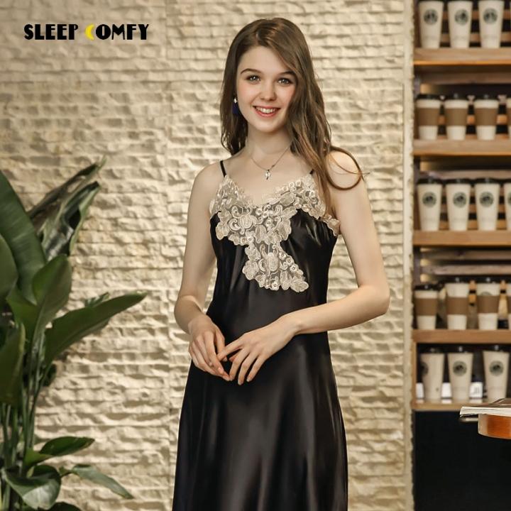 c496e6a41a New simulation silk nightdress ladies sexy sling long home service black m