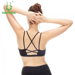 New sports vest with running female underwear shoulders fitness bra shockproof gathered corset black M