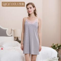 Shallow break 2018 ladies summer strap nightdress stripes cotton women blue m