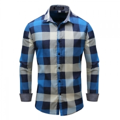 New European and American large code men's shirt, autumn winter long sleeves cowboy grid blue m