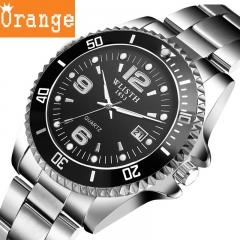 Waterproof series high-grade sports watch Men's business watch Steel strip black surface average code