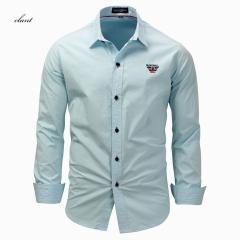 Men's Casual Long Sleeve Shirt Solid Color Cotton Shirt white m