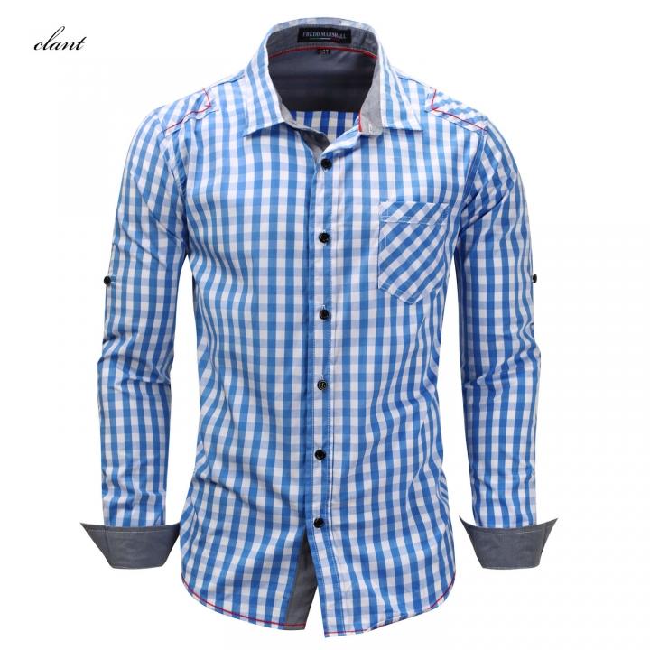 a8b67821f Large size men s cardigan long-sleeved shirt cotton plaid cowboy lapel Sky  Blue m