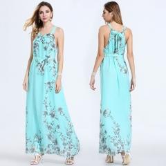 2018 Women's Explosion Slim Sexy elegant fashion big pendulum Sleeveless Print Chiffon Long Dresses blue s