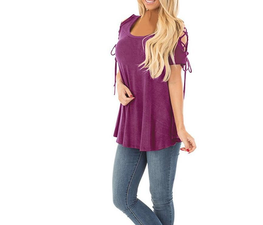 9c3691fd37c90 Women's strapless corn wear rope wild T-shirt Light purple m ...