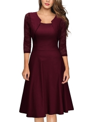 2018 retro high-end women's round neck medium and  long section large swing formal dress new s Wine red