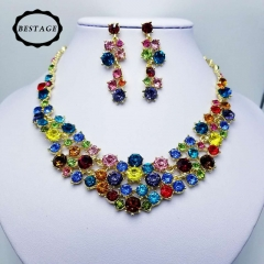 Colored crystal glass necklace earrings  wedding jewelry full diamond bride dinner jewellery multicolor One size