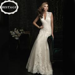 2018 new white lace deep v-neck fishtail  wedding dress s white