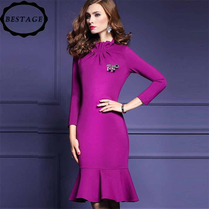 9f5b953968 ... lotus leaf stand collar long-sleeved dress slim fit bag hip fishtail  dress l rose red  Product No  7450731. Item specifics  Brand