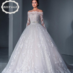 2018 Princess Bride Wedding Pleated Perspective Backless Lace Wedding Dress Zipper s white