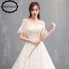 2018 summer new word shoulder light wedding dress slim long tail simple princess bride dress s champagne