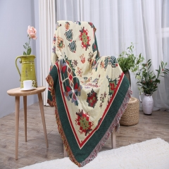 Vintage multifunctional cotton blanket cover bed sofa piano table and other family decorations beige 90cm*90cm