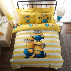 4pcs 100% Brushed Cotton Cartoon Comfortable Bedding Set Duvet Cover Flat Sheet Pillow Case minions 4*6