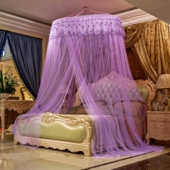 Round Dome Lace Curtain Mosquito Net Fit 5*6 4*6 6*6 Size Bed purple one size