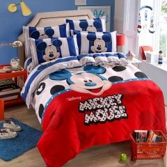 RedYoungth 4pcs Polyester soft Bedding Sets Duvet Cover Flat Sheet Pillow Case Destiny cartoon mickey mouse 1 5*6