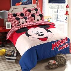 RedYoungth 4pcs Polyester soft Bedding Sets Duvet Cover Flat Sheet Pillow Case Destiny cartoon mickey mouse 2 4*6