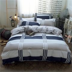 RedYoungth 100% Cotton 4 piece Bedding set with duvet cover flat sheet pillow case reactive print grid 4*6