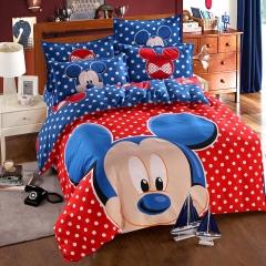 RedYoungth 4pcs Polyester soft Bedding Sets Duvet Cover Flat Sheet Pillow Case Destiny cartoon mickey mouse 5 4*6