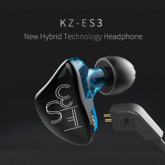 KZ ES3 Hybrid Dynamic And Balanced Armature Earphone In Ear HIFI Stereo Sport Headset Blue with mic