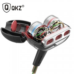 QKZ KD8 Double Unit Drive In Ear Earphone Bass Subwoofer Earphone HIFI DJ Monito Running Sport black with mic