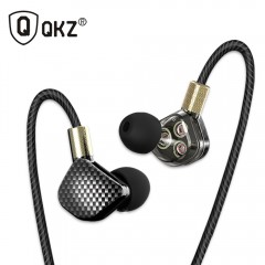 QKZ KD6 In Ear Earphone With Microphone 6 Dynamic Driver Unit Headsets Stereo Sports HIFI Subwoofer black with mic